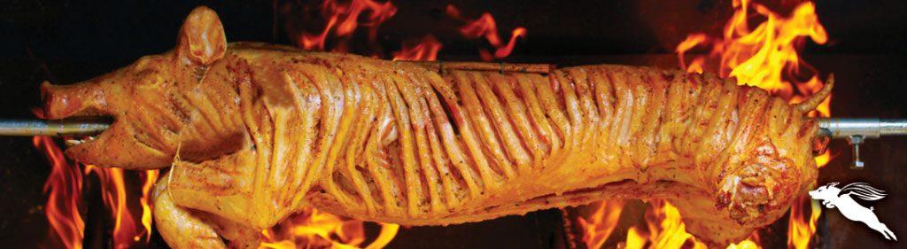 the whole hog on a spit-roast
